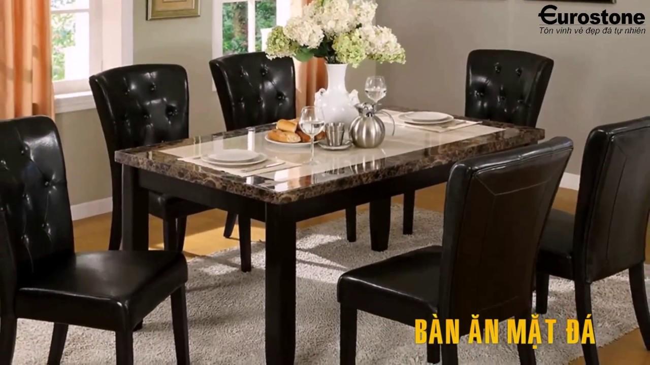 Mẫu bàn ăn mặt đá tự nhiên cao cấp & sang trọng cho gia đình bạn