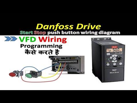 🔴 Danfoss Drive Start Stop Using Push Button    Vfd Programming In Hindi