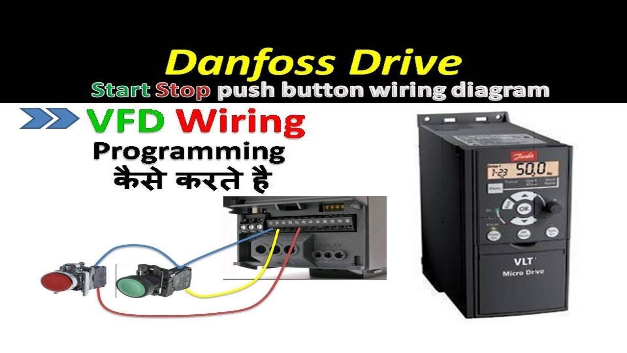 danfoss drive start stop using push button vfd programming in hindi genus controls [ 1280 x 720 Pixel ]