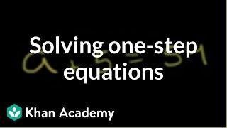 Example of solving a one-step equation | Linear equations | Algebra I | Khan Academy