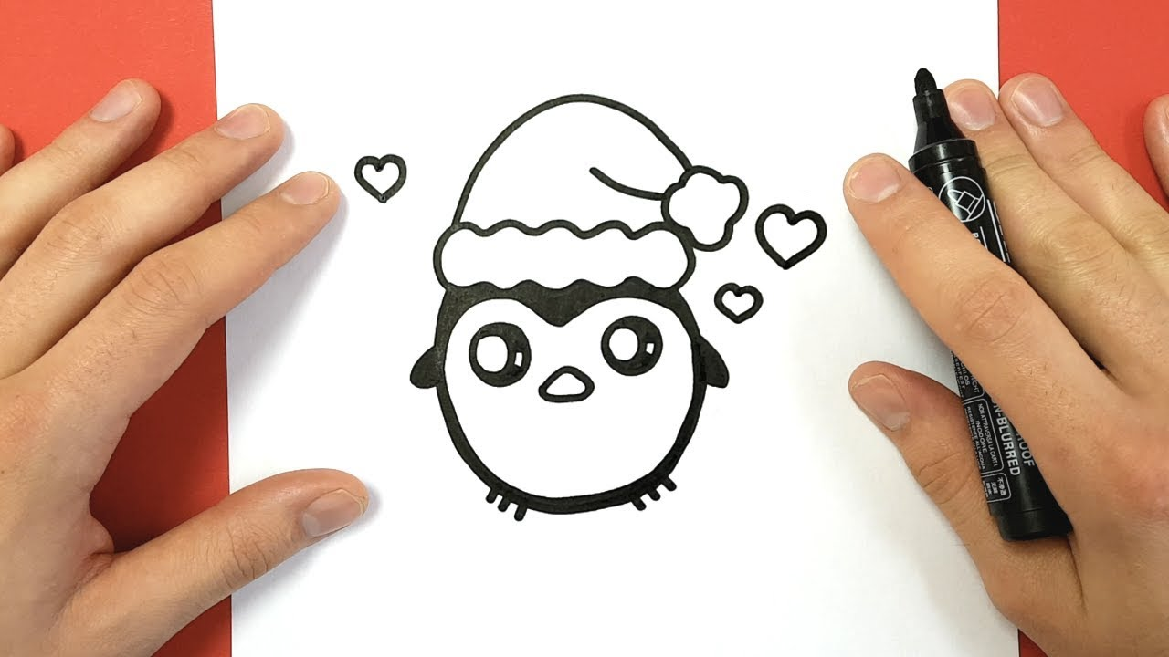 HOW TO DRAW A CHRISTMAS PENGUIN CUTE AND EASY - YouTube