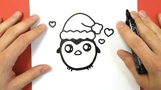 HOW TO DRAW A CHRISTMAS PENGUIN CUTE AND EASY