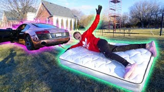 SUPERCAR MATTRESS SLEDDING!! *WE CRASHED*
