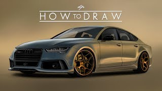 HOW TO DRAW an Audi RS7 | Step by Step | Realistic - drawingpat