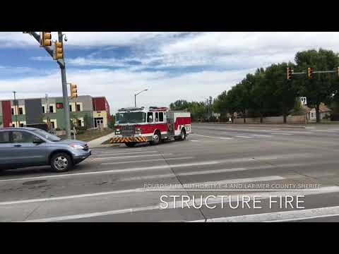Pourde Fire Authority and Larimer County Sheriff and UCH 206 responding to  a structure fire