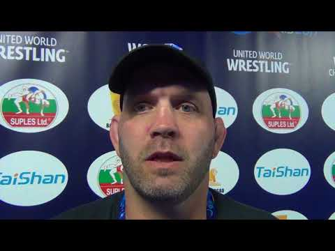 Greco Coach Matt Lindland at 1st weigh in for World Championships