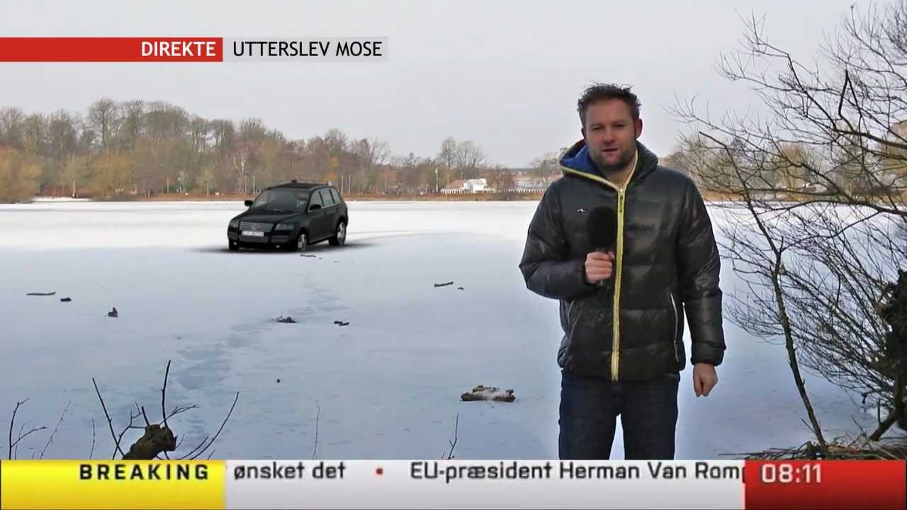 car goes through the ice on live tv - youtube