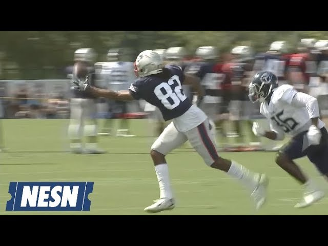 Maurice Harris Makes One-Handed Catch in Patriots-Titans Joint Practice