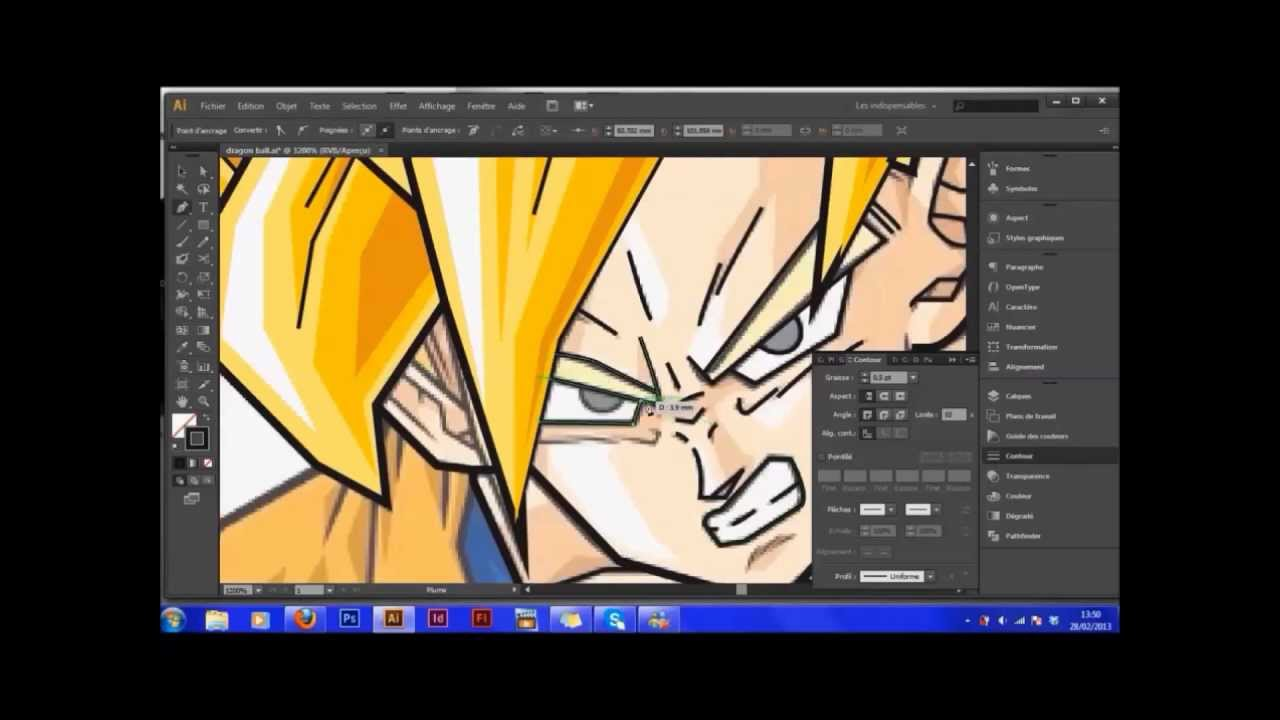 Adobe Illustrator Cs6 Vectorisation D'un Dragon Ball