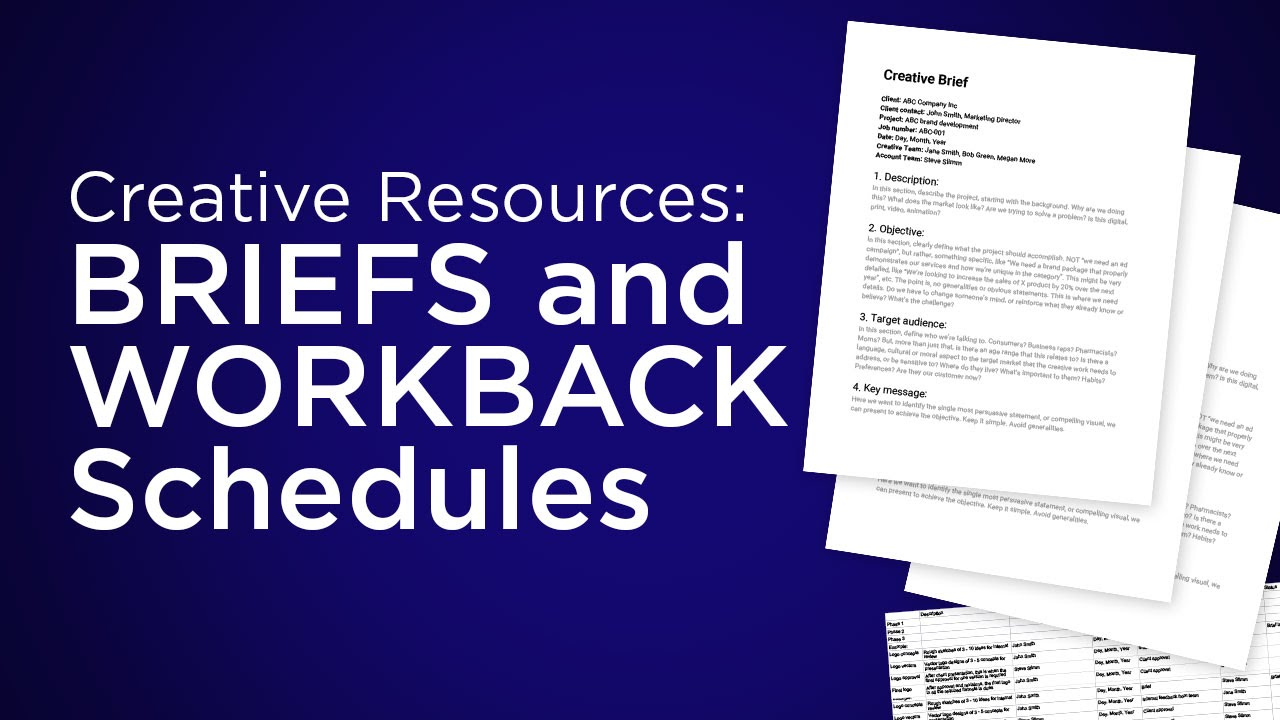 Creative Resources: Briefs and workbacks. Resource Files Download the briefing template, here: https://docs.google.com/document/d/1Swi5p4ALAMSem7VaFpUs4TacEJRTHP8crU5ipvtYD7c/edit?usp=sharing Downloa.... Youtube video for project managers.