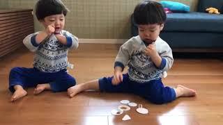 カードを服の中に詰め込む双子。 真似して同じことをやりはじめます。