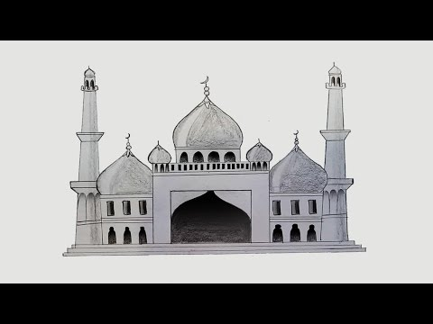 How to draw Mosque step by step