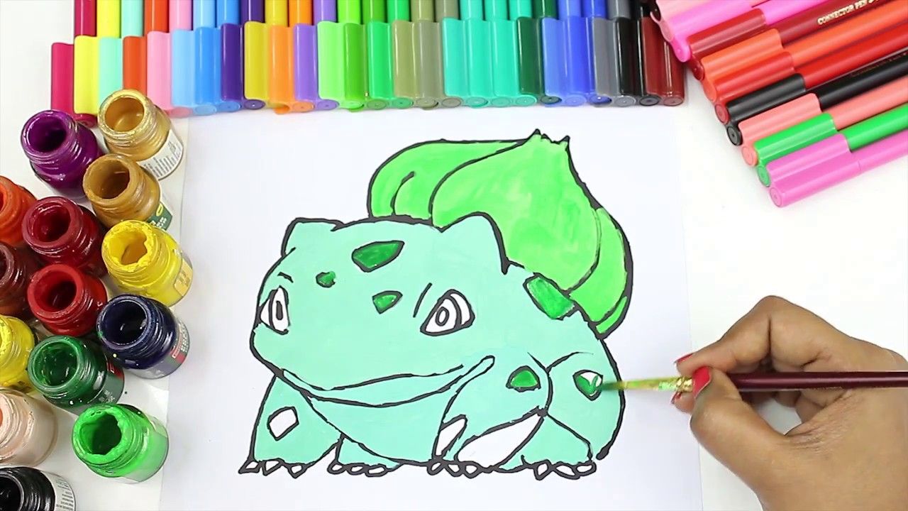 Drawing Colouring Bulbasaur Learn How To Draw Pokemon Pokemon Colouring Pages Baby Tube Fun