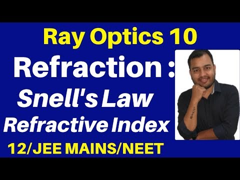 Ray Optics 10 : Refraction Of Light : Snell's Law & Refractive Index JEE/NEET
