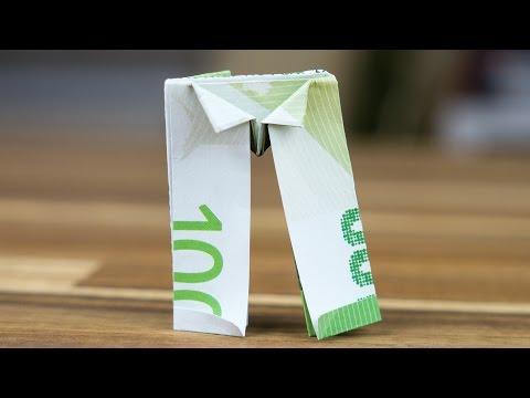 geldscheine falten f r geldgeschenke hemd krawatte doovi. Black Bedroom Furniture Sets. Home Design Ideas