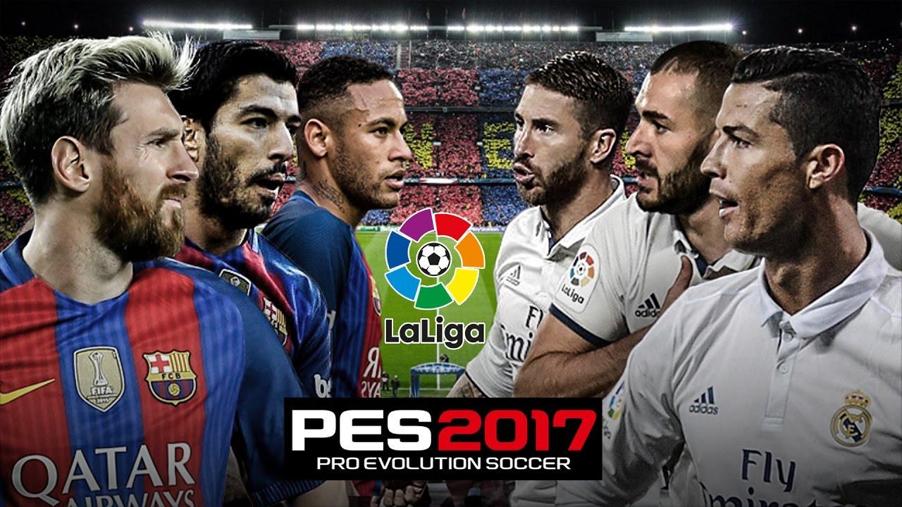 pes 2017 el clasico barcelona vs real madrid laliga gameplay pc