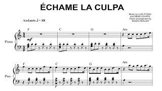 Luis Fonsi Demi Lovato chame la culpa EASY piano sheet.mp3