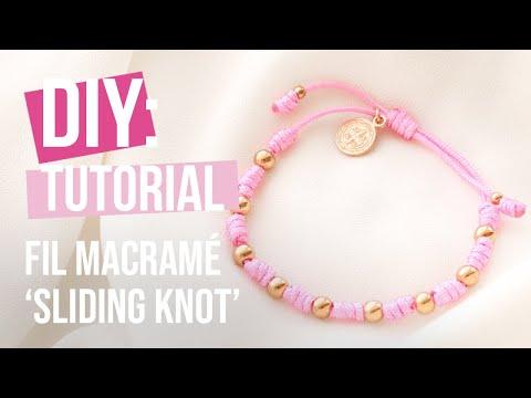 Bijoux à faire soi-même : Fil macramé 'sliding knot' technique