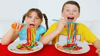 Цветная Лапша из пластилина Play Doh -Учим цвета -Песенка про цвета для детей