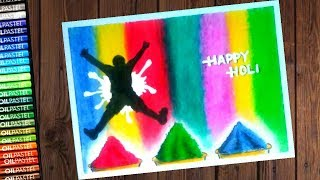 Holi festival ( festival of colours ) Drawing with oil pastel - step by step