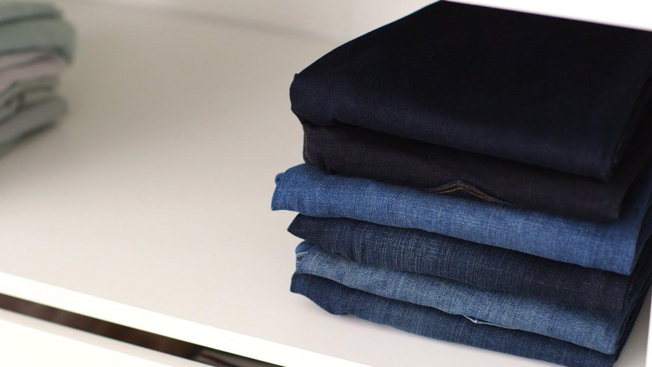 How to Fold Jeans- Martha Stewart - YouTube