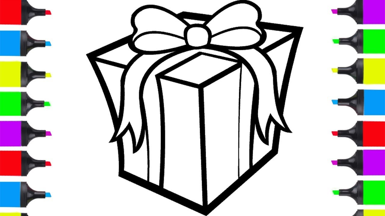 Drawings Of Christmas Presents.How To Draw Christmas Present Easy Coloring Pages For Children Learn How To Draw