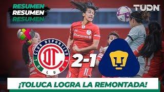 Resumen y Goles | Toluca 2 - 1 Pumas | Liga MX Femenil - Apertura 2019  - Jornada 16 | TUDN