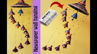 Newspaper wall hanging | wind chime | Easy paper crafts | Best out of waste