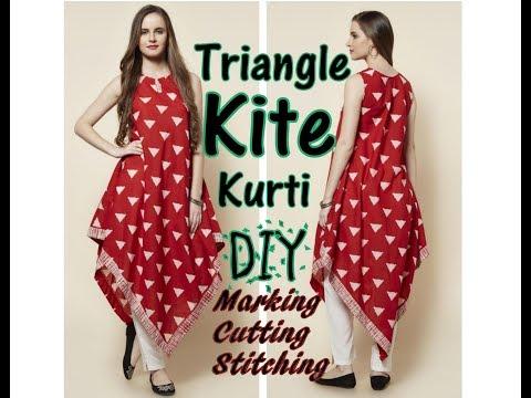 Triangle Kite Kurti Drafting, Cutting and Making   DIY