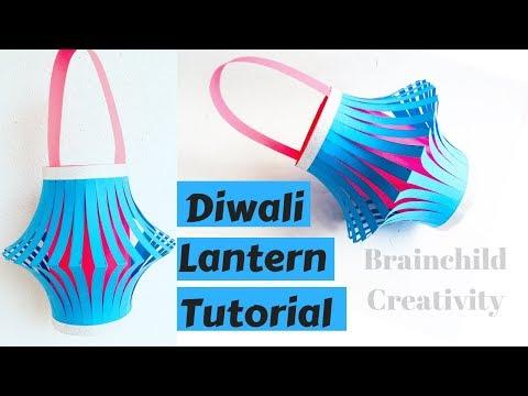 Easy Colorful Diwali Lantern Tutorial | Akash Kandil Making | Easy Paper Lantern