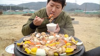 스테이크 소스를 이용한 맛있는 목살 스테이크!! (Pork neck Steak) 요리&먹방!! - Mukbang eating show