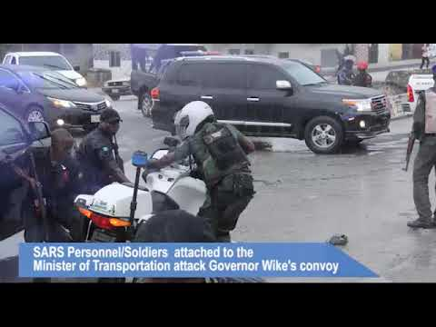 SARS Personnel/Soldiers attached to the Minister of Transportation attack Governor Wike's convoy