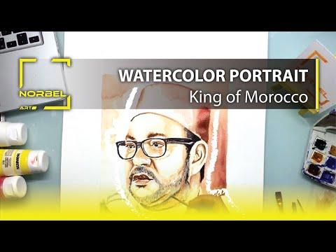 Watercolor Drawing king Morocco