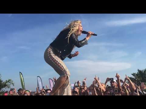 "Singer Rachel Platten singing ""Fight Song"" at the Pride Weekend Concert on the Beach"