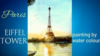 Paris Eiffel tower painting by water colour.