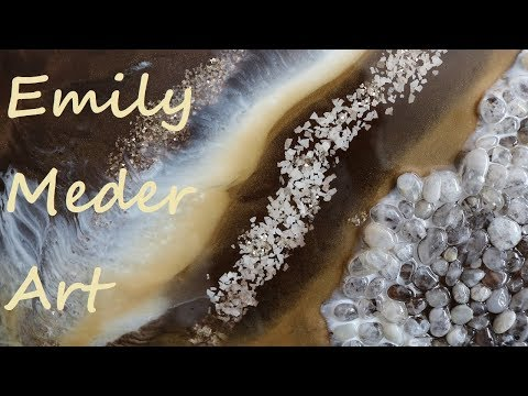 Geode Resin Painting Tutorial DIY! Gold, White, Brown. Challenge video!