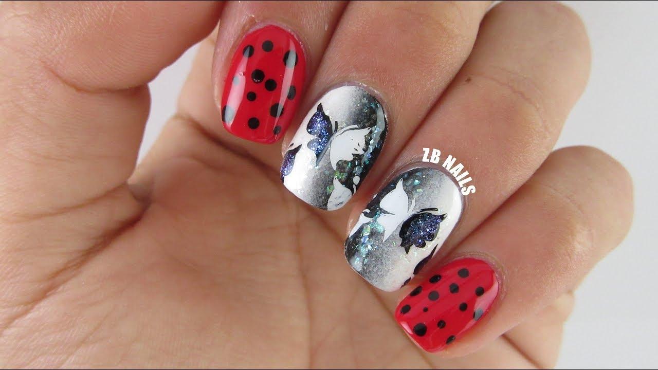 miraculous ladybug nail art zb