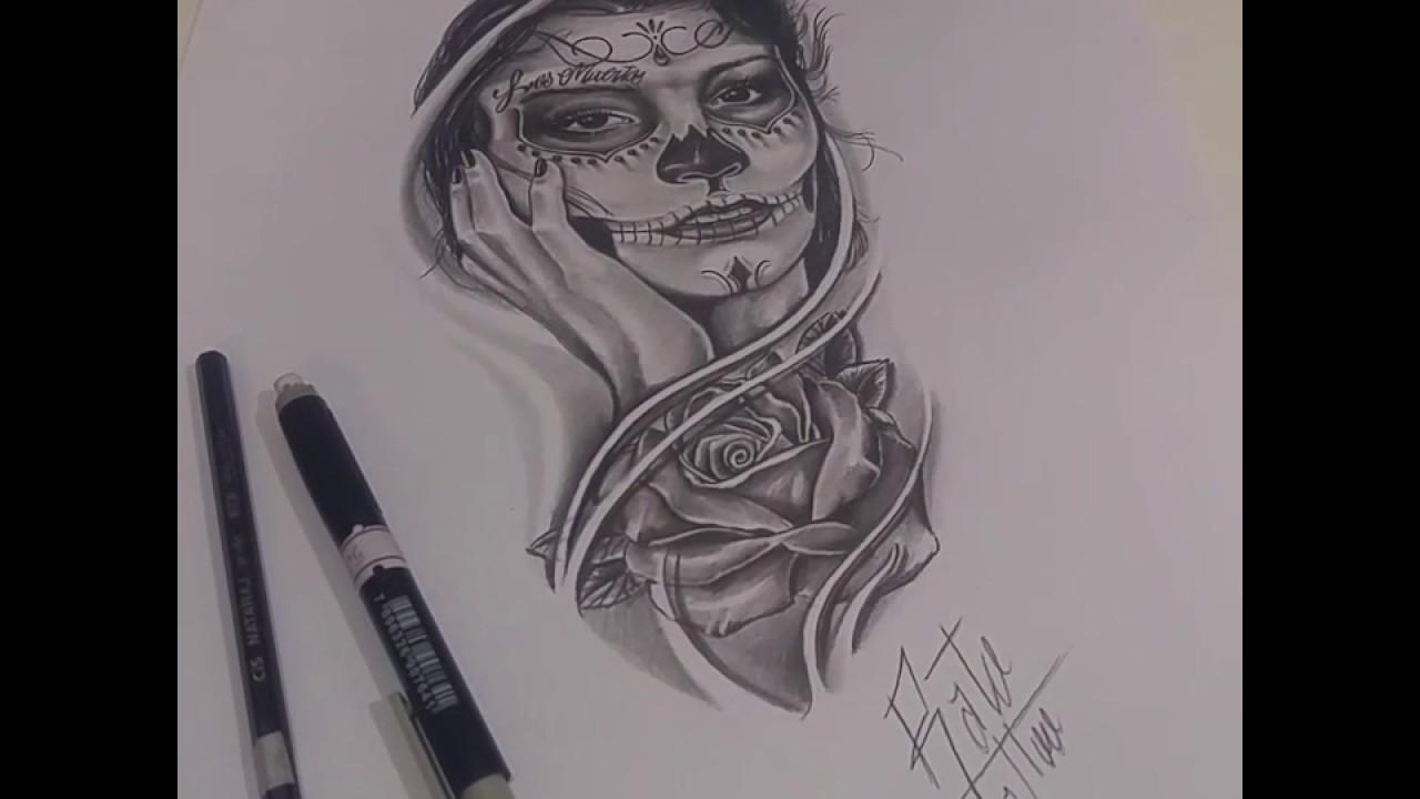 Desenho Realista Para Tattoo Catrina Santa Muerte Rosa Rato Tattoo