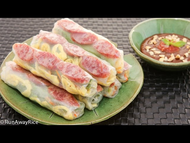 Fresh Spring Rolls With Chinese Sausage Bo Bia Youtube