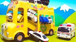 アンパンマン アニメおもちゃ ようちえんバスであそぼう くるまをいっぱいのせてみたよ 人形もいっぱいのせてみたよ animation Anpanman Toy thumbnail
