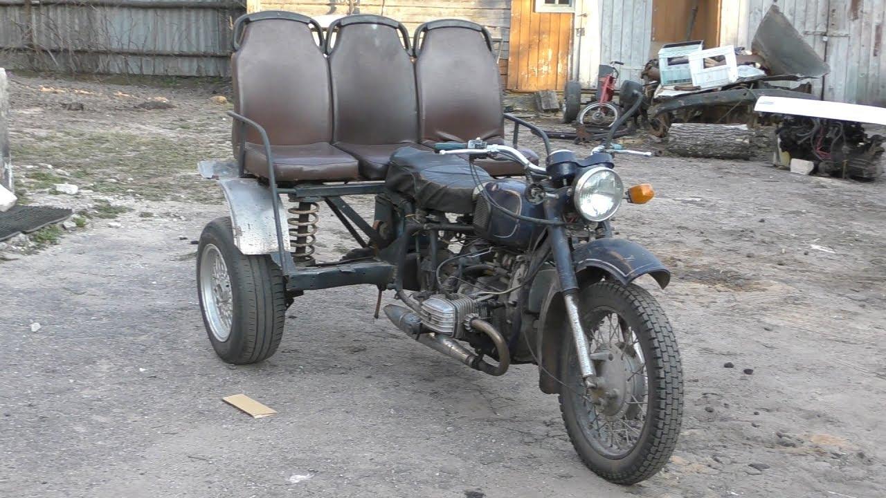 Трицикл из  мотоцикла Днепр (МТ-11) с мостом от BMW. Обзор