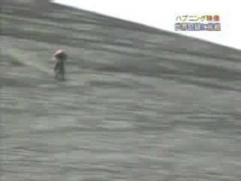 Extreme cycling downhill on volcano