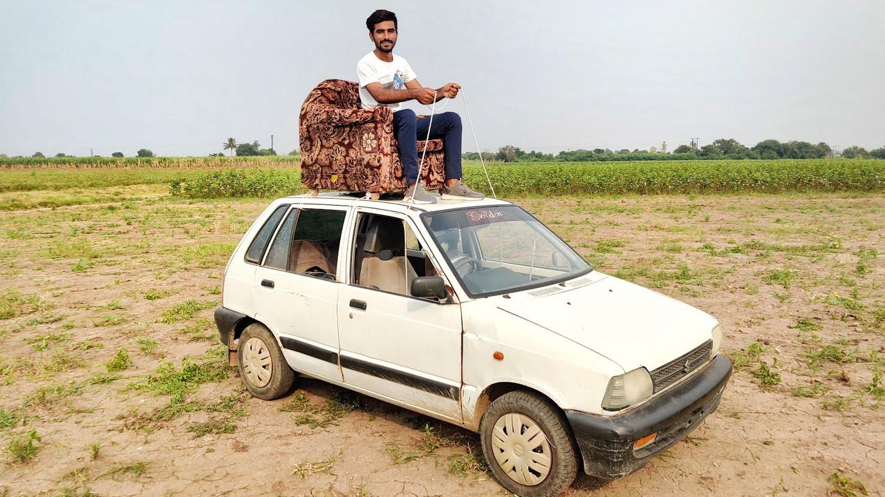 बिना ड्राइवर छत पर से कार को चलाया - Driving Car From Roof [DANGEROUS]