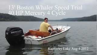 """13"""" Boston Whaler Time Trial with 40HP Mercury 4 Stroke"""
