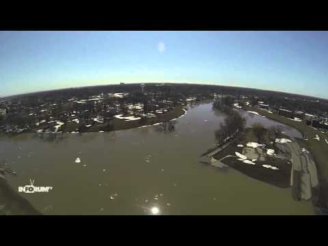 Aerial Flood Footage Of Red River 2013