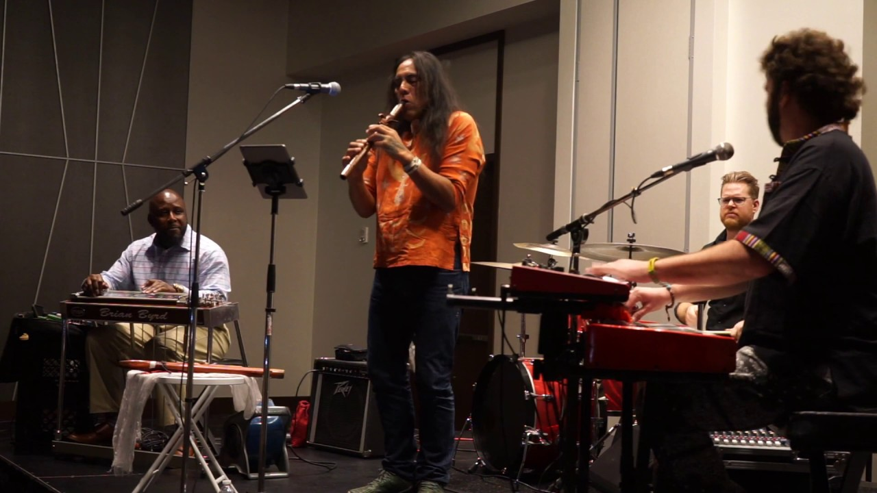 """Robert Mirabal and the Bird Tribe band performing """"Change"""" at Art Ovation Hotel in Downtown Sarasota"""