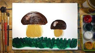 Как нарисовать ГРИБОК красками | Простые рисунки красками | Урок рисования для детей(РыбаКит - Папа Рисует: http://www.youtube.com/ribakit3 РыбаКит Live - Большой Папа Рисует: ..., 2016-04-06T07:49:33.000Z)