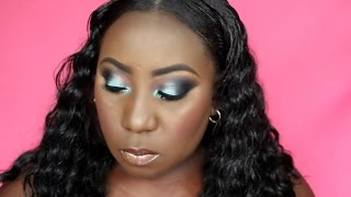 teal smokey eye nude lips  bh cosmetics foil eyeshadow palette