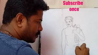How to draw FARMER MALE part 1 by Artist Nandha kumar
