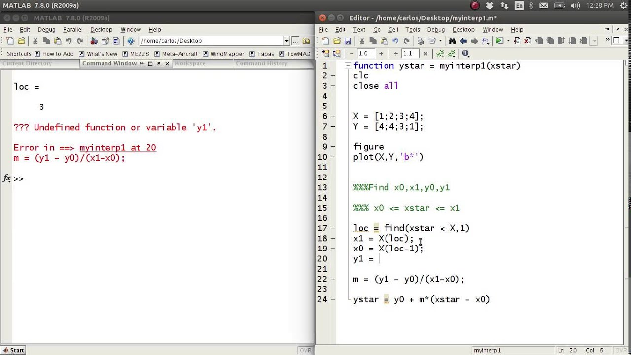 MATLAB Help - Linear Interpolation